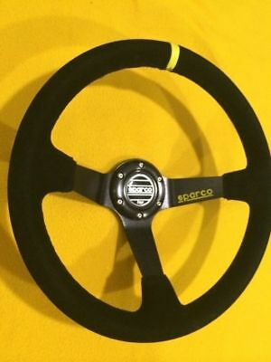 350mm Deep dished Black suede leather Sports racing steering wheel Sparco logo