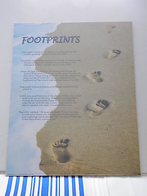 "16"" x 20"" Art Poster, Footprints in the Sand, Inspirational Christian Poem Verse"
