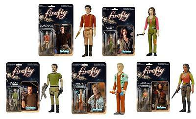 """FIREFLY SERENITY ReAction 3.75"""" COMPLETE SET 5 Entire CREW Retro ACTION FIGURES"""