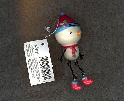 Snowman Christmas Tree Ornament by Russ-Decoration-Stocking Stuffer-ANDREA