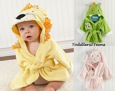 Baby Dressing Gown Cute Hooded Bathrobe Towel Boy Girl Animal Bunny Lion Monster