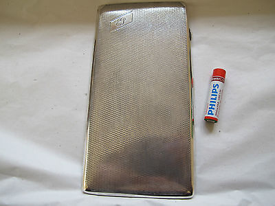 EXTRA LARGE/HEAVY ART DECO STYLE HM SOLID SILVER CIGARETTE CASE - 1938 - 235.6g