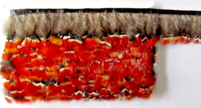 Amherst Red Orange Pheasant Feather Fringe Ribbon Trim (price for 30cm) Craft