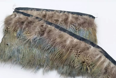 Green Tipped Pheasant Feather Fringe Ribbon Trim (price for 30cm) DIY Craft