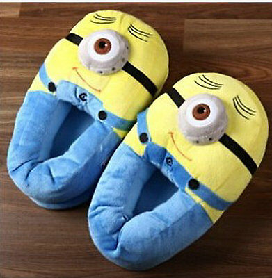 Despicable Me Minion Plush Slippers Soft Toy Stuffed Shoes 3D-eyed For Adult 11""