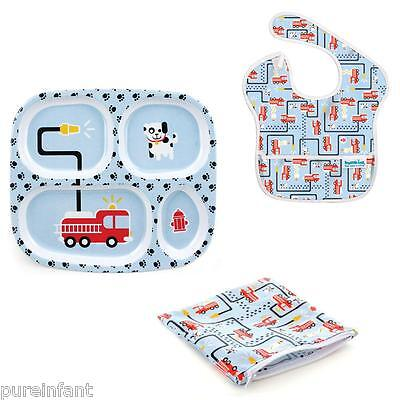 Bumkins Feeding & Snack Gift Set For Babies & Toddlers: Fire Engine