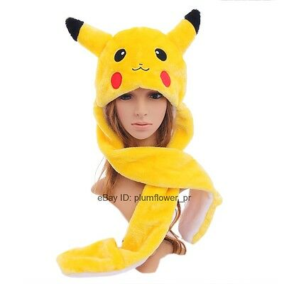 Animal Hat Fluffy Plush Cap Scarf Hood Pikachu Gloves Mittens EARFLAPS Beanie