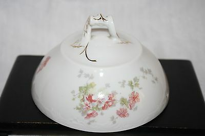 BEAUTIFUL AUSTRIA ELSA SCALLOP PINK FLOWER DOME COVER FOR BUTTER/CHEESE? DISH.
