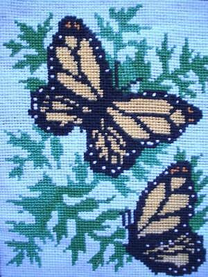 """vintage completed cotton needlepoint butterfly Tapestry 9.8""""x8"""""""