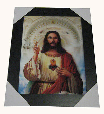 3D LENTICULAR PICTURE FRAMED 19 X 15 - THE SACRED HEART OF JESUS