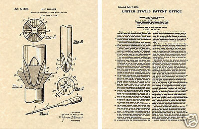 1936 Phillips Screw US PATENT Art Print READY TO FRAME!!  Vintage Screwdriver