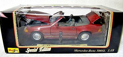 PREVIOUSLY DISPLAYED MAISTO SPECIAL ED MAROON MERCEDES BENZ 500SL 1:18 + BOX