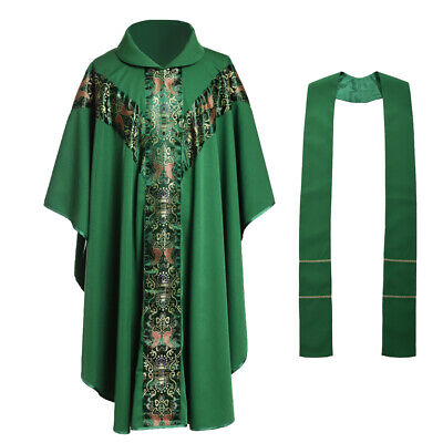 Green Church Clergy Vestments Father Priest Chasuble w Collar J033 Catholic Robe