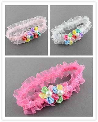 4pcs Ribbon Flower Elastic Baby Headbands Girls Hair Band Lace Beads Accessories