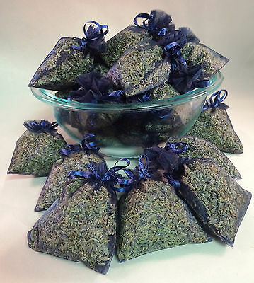 Set of 50 Lavender Sachets made with Navy Organza Bags