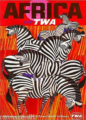 Africa by Clipper Zebra African Vintage Travel Advertisement Art Poster