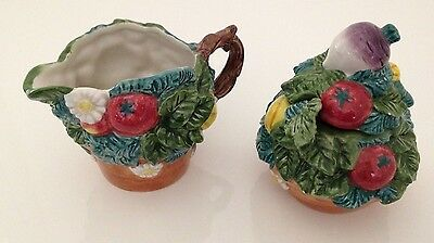 FITZ & FLOYD Classics Vegetable Patch Creamer and Sugar w/Lid & Spoon Flower Pot