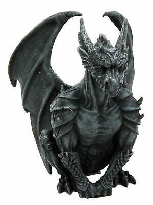 """Nightwatch Grotesque Winged Heavy Armored Guardian Gargoyle Statue 6""""H Figurine"""