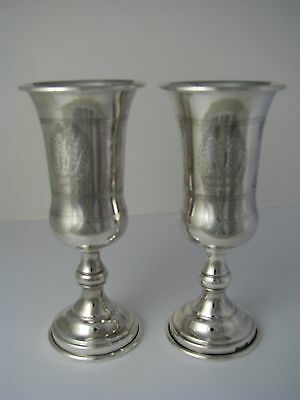 2 SOLID STERLING SILVER GOBLETS KIDDISH CUPS KIDDUSH GOBLETS USA ca1920s Judaica