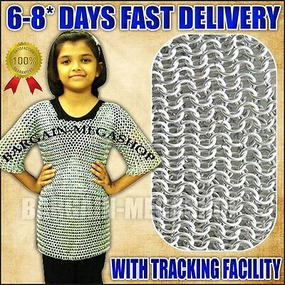 Aluminum Chainmail Shirt, Medieval Chain Mail Armor Costume Child Size 6-9 yrs