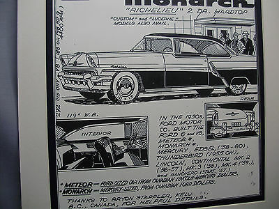 1955 Canadian Monarch  Auto Pen Ink Hand Drawn  Poster Automotive Museum