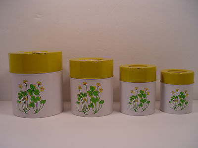 Set of 4 Retro Clover COUNTERPOINT, SAN FRANCISCO Metal Canister Set