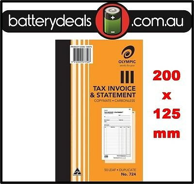 Olympic No724 Tax Invoice and Statement Carbonless Book #724 50 Leaf 200 x 125mm