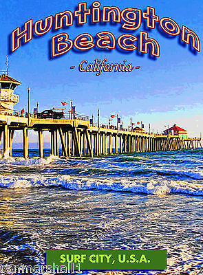 Huntington Beach Pier Surf California United States Travel Advertisement Poster