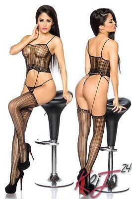 Strapsbodystocking ouvert Dehnbar Stocking Body Straps Strapse Catsuit Schwarz
