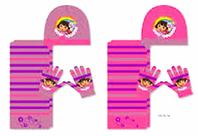 DORA the EXPLORER  3 Piece Set - Scarf, Hat & Gloves- One Size approx: 4-8 Years