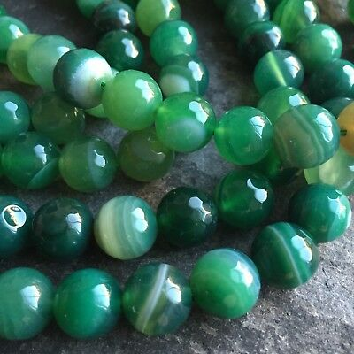 "Agate faceted round 10mm gemstone beads. Full 15.7"" strand (~ 38 pcs) SP77"