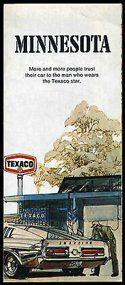 Vintage 1968 Shelby GT 500 Mustang art on Texaco Gas Station Map Minnesota 1973
