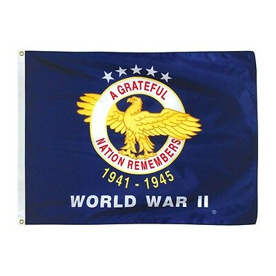 3x4 ft WORLD WAR II Commemorative Military Flag Outdoor Print Nylon Made in USA