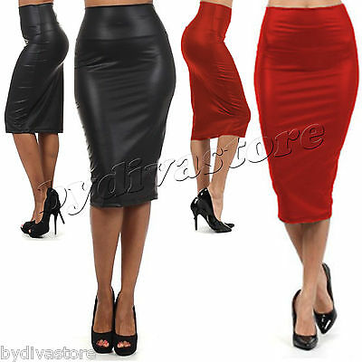 Sexy Leder Look Pencil Bleistiftrock Wetlook Stretch Business Rock Schwarz Rot