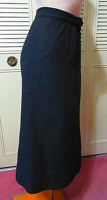 True Vintage Charcoal Gray Grey 100% Wool Long Straight Skirt WWII 1940s 1950s
