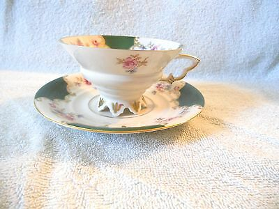 Vtg Mitterteich Bavaria Cup & Saucer Set Roses Green Gold Trim Made in Germany