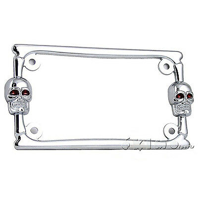3d skull bone chrome metal motorcycle license plate frame harley davidson