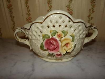 """VINTAGE CAPODIMONTE FLOWERED BASKET HAND PAINTED WITH HANDLE SIDES 9-1/2"""" X 5"""""""