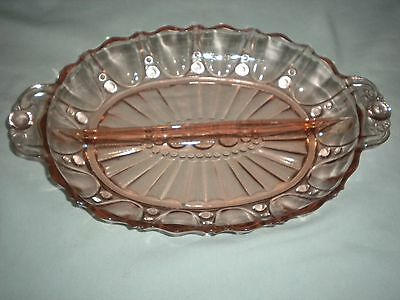 OYSTER & PEARL HAZEL ATLAS RELISH DISH PINK DEPRESSION GLASS DIVIDED