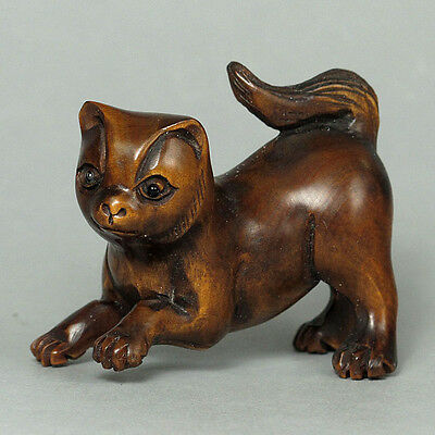 Boxwood Wood Netsuke CUTE CAT Carving (WN134)