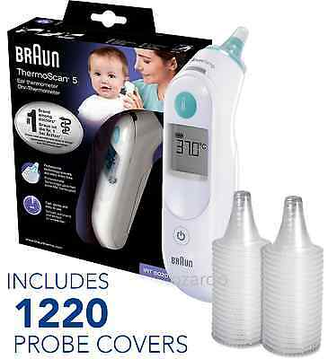 NEW Braun ThermoScan 5 6020 Baby Digital Ear Thermometer with 1220 Probe Covers