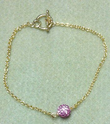 Pave Pink Glitter Ball Gold Chain Anklet 10""