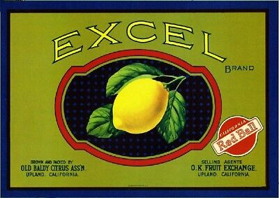 Upland Excel Lemon Citrus Fruit Crate Label Art Print