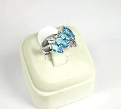 R#5574 simulated Sea Blue & White Topaz Gemstone ladies silver ring size 7.25