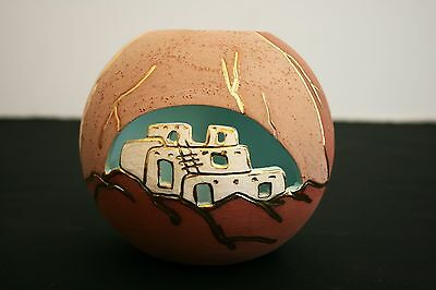 Vera Russell Pottery Signed Sphere Cut-Out Gold Accents