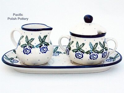 Polish Pottery Stoneware Poland Cream Sugar and Tray Set (422-148)