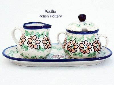 Polish Pottery Stoneware Poland Cream Sugar and Tray Set (422-815) ORANGE