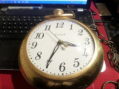 Vintage Model 370 UNITED Electric Small Version Pocket Watch Clock Working Cond