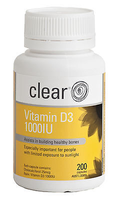 Clear Vitamin D3 - Assists in building healthy bones - No Osteoporosis