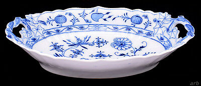 Antique Meissen Oval Handled Serving Dish Blue Onion Oval Stamp c. 1900